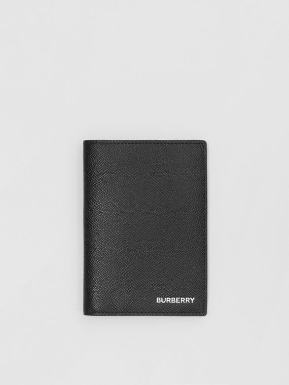 Grainy Leather Passport Holder in Black