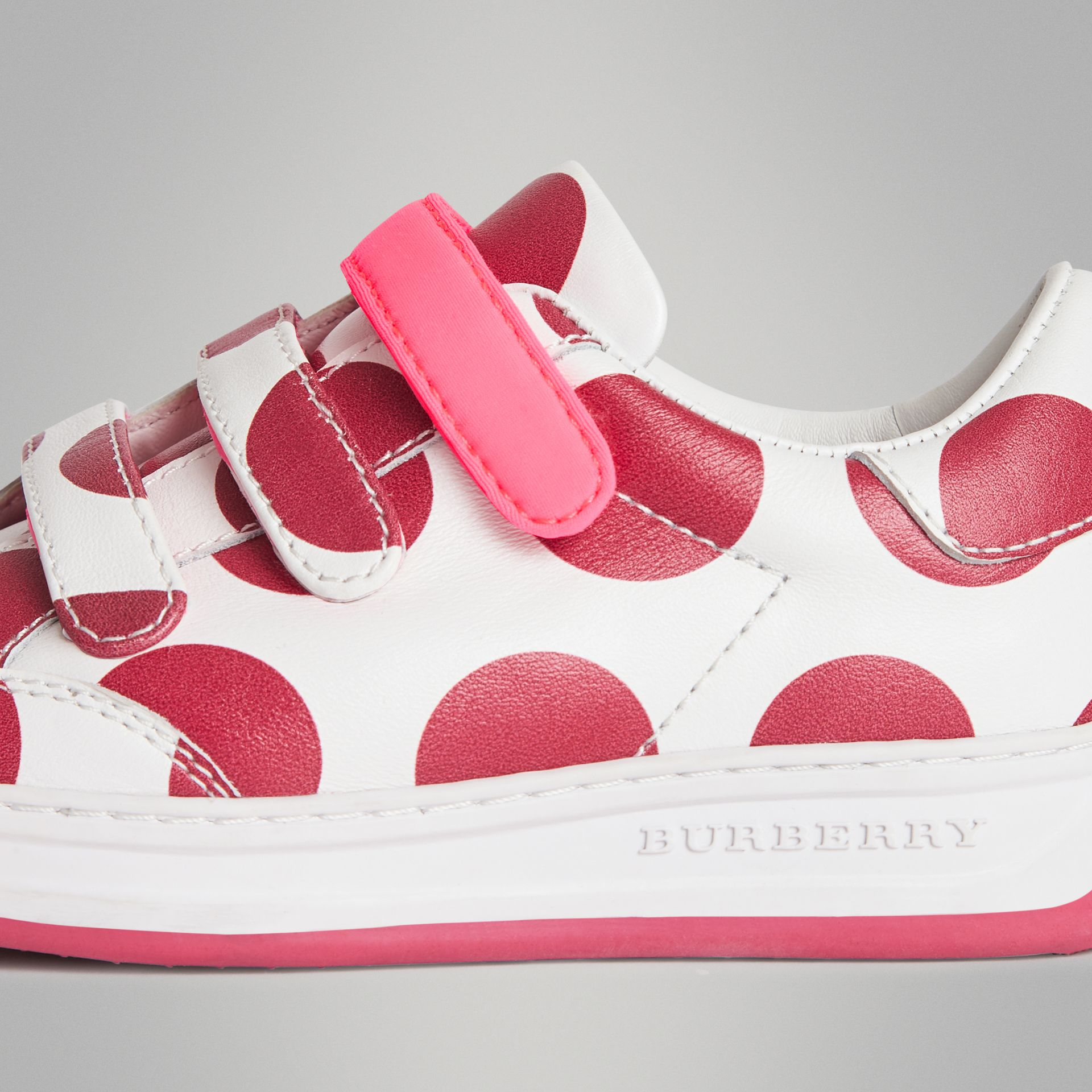 Spot Print Leather Sneakers in Windsor Red | Burberry Australia - gallery image 1
