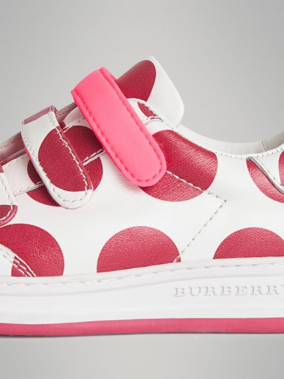 Spot Print Leather Sneakers in Windsor Red | Burberry Australia - cell image 1