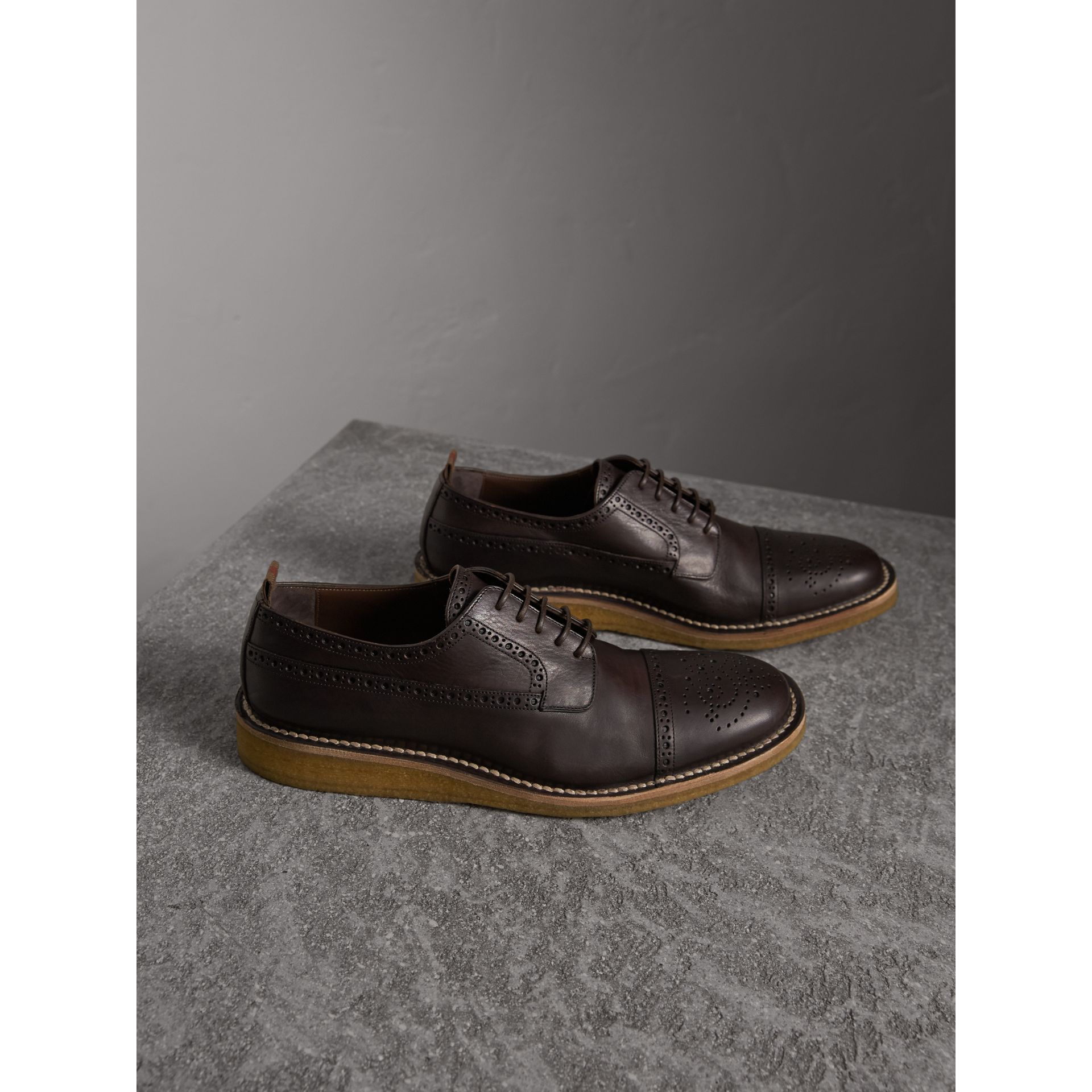 Raised Toe-cap Leather Brogues - Men | Burberry - gallery image 4