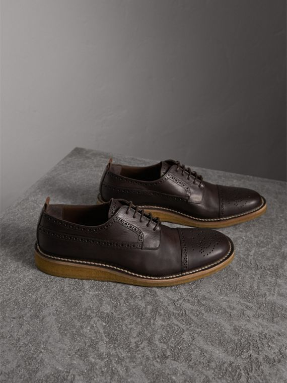 Raised Toe-cap Leather Brogues in Ebony - Men | Burberry - cell image 3