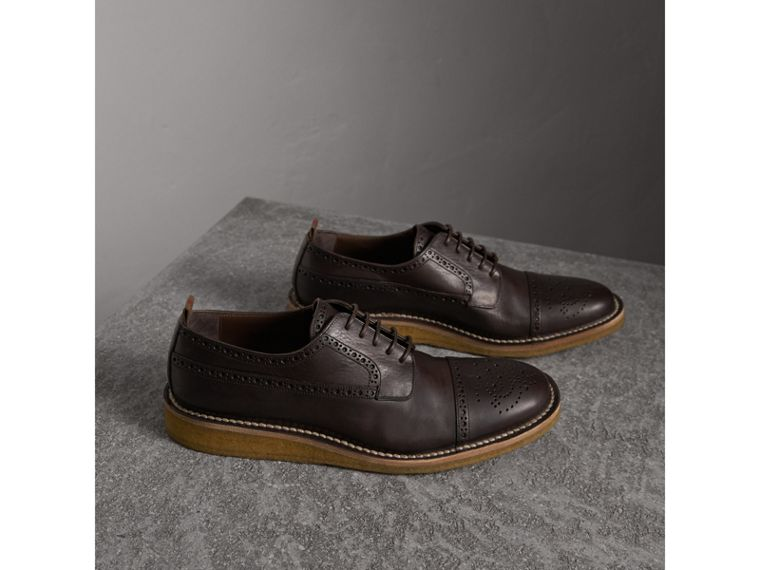 Raised Toe-cap Leather Brogues in Ebony - Men | Burberry - cell image 4