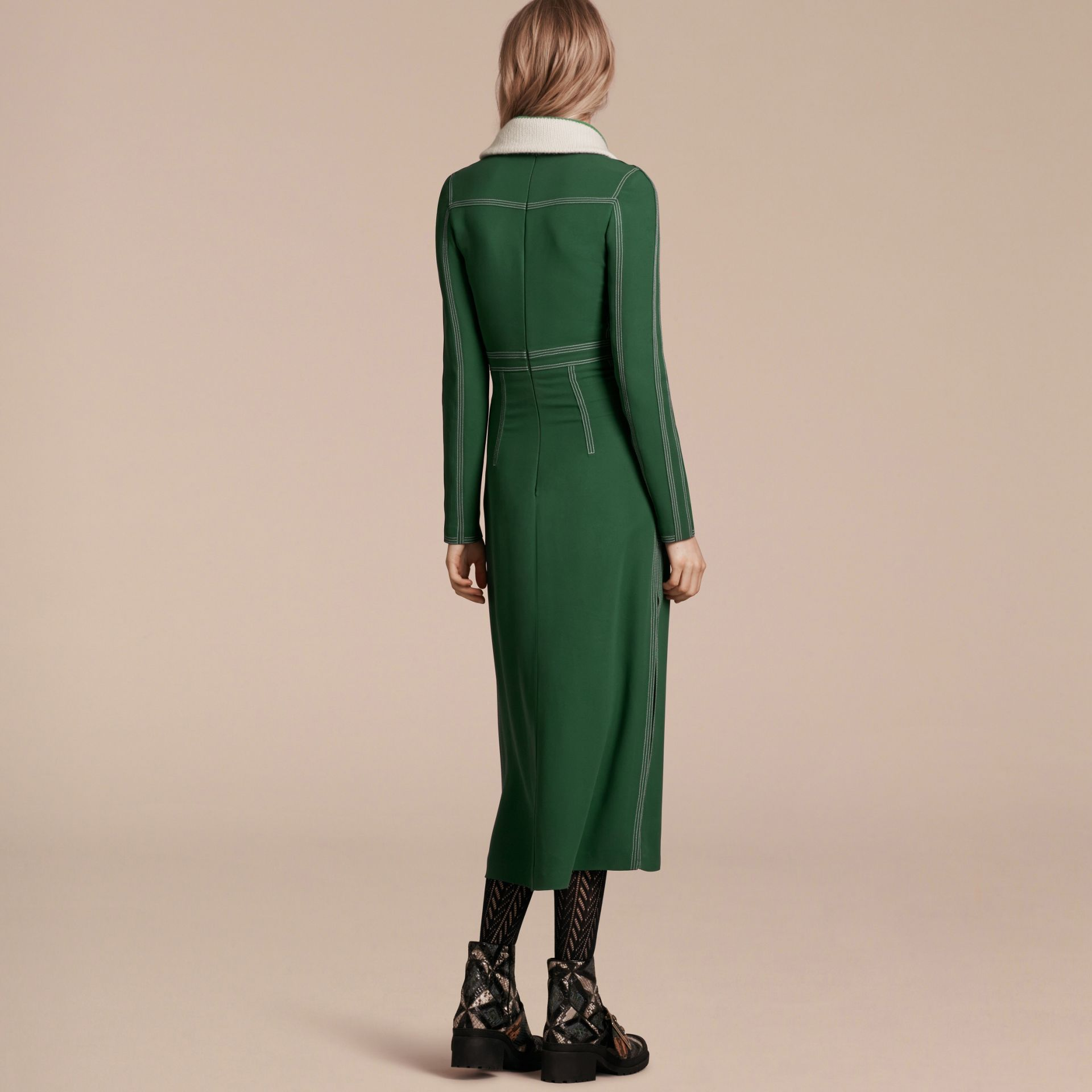 Deep green Topstitch Detail Georgette Dress with Knitted Collar - gallery image 3