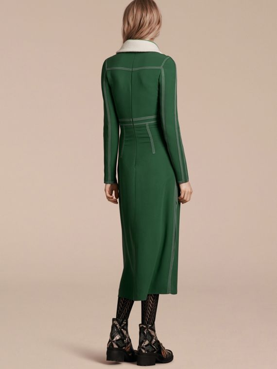Deep green Topstitch Detail Georgette Dress with Knitted Collar - cell image 2