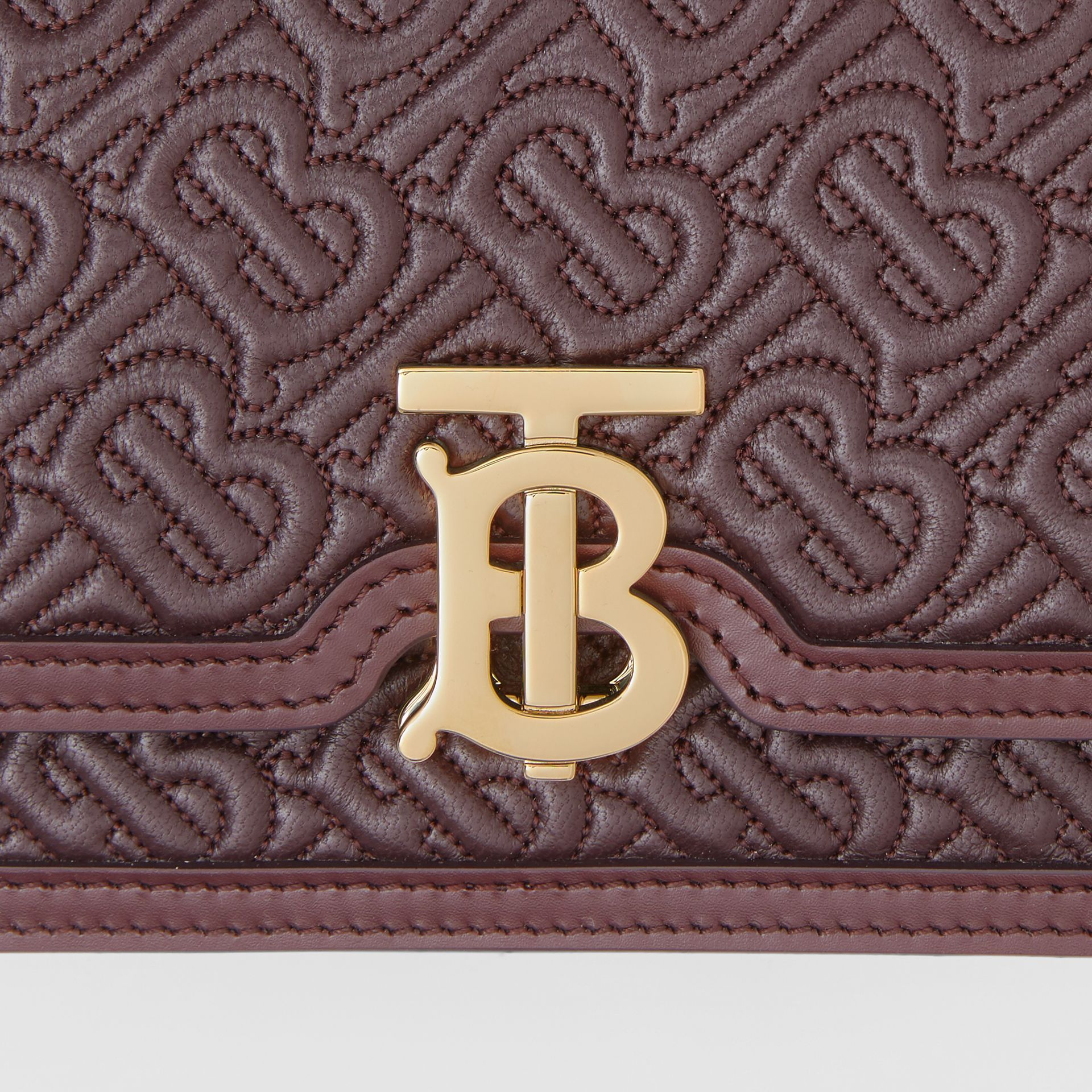 Mini Quilted Monogram Lambskin TB Bag in Dark Burgundy - Women | Burberry - gallery image 1
