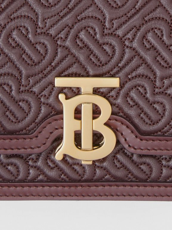 Mini Quilted Monogram Lambskin TB Bag in Dark Burgundy - Women | Burberry - cell image 1