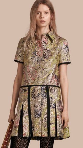 Metallic Floral Jacquard Shirt Dress