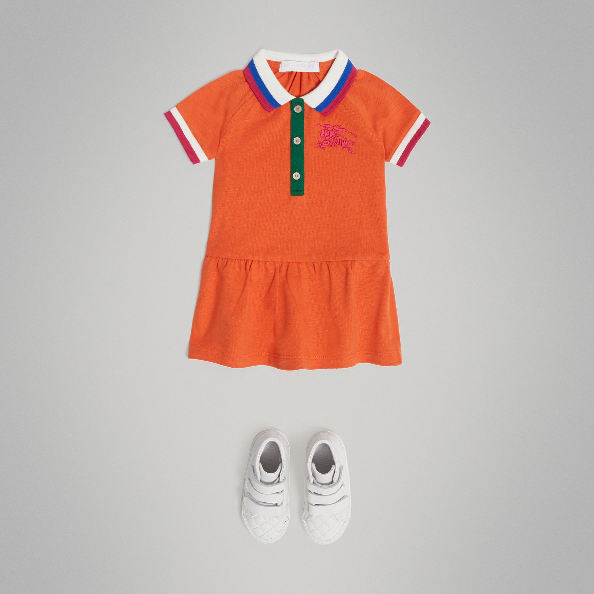 Stretch Cotton Polo Dress in Bright Clementine Melange - Children | Burberry - gallery image 2