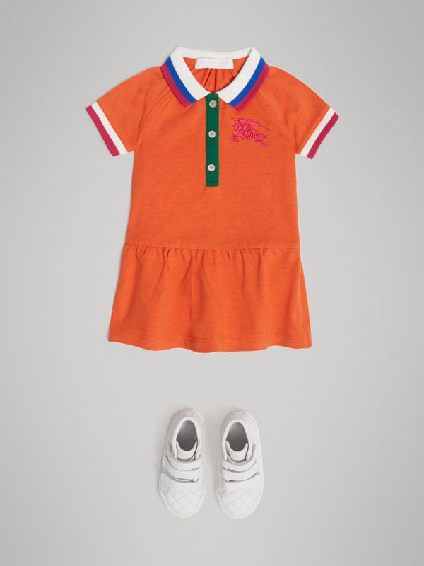 Stretch Cotton Polo Dress in Bright Clementine Melange - Children | Burberry - cell image 2