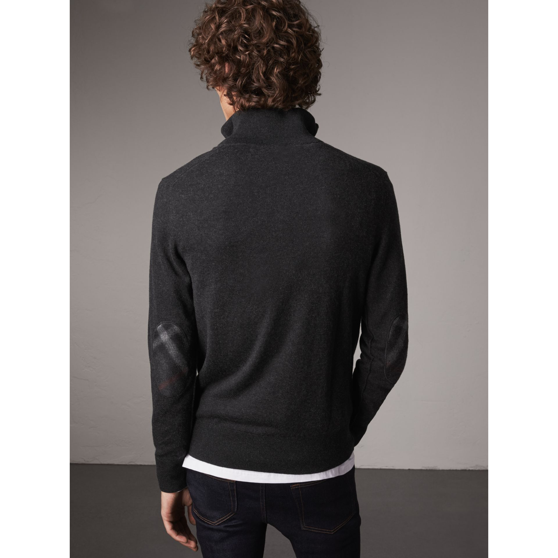 Zip-neck Cashmere Cotton Sweater in Charcoal - Men | Burberry - gallery image 3