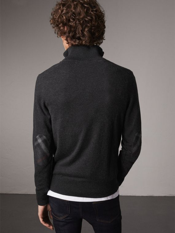 Zip-neck Cashmere Cotton Sweater in Charcoal - Men | Burberry United Kingdom - cell image 2