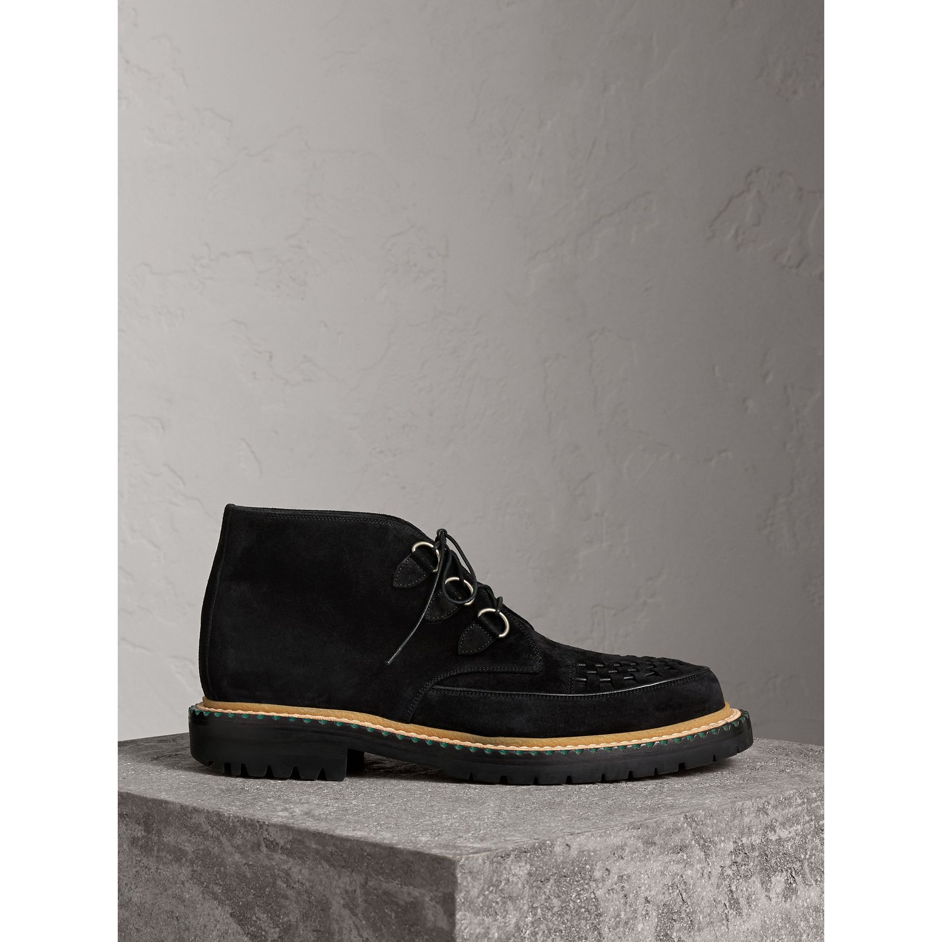 Woven-toe Suede Ankle Boots in Black - Men | Burberry United States - gallery image 0