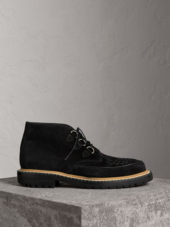 Woven-toe Suede Ankle Boots in Black