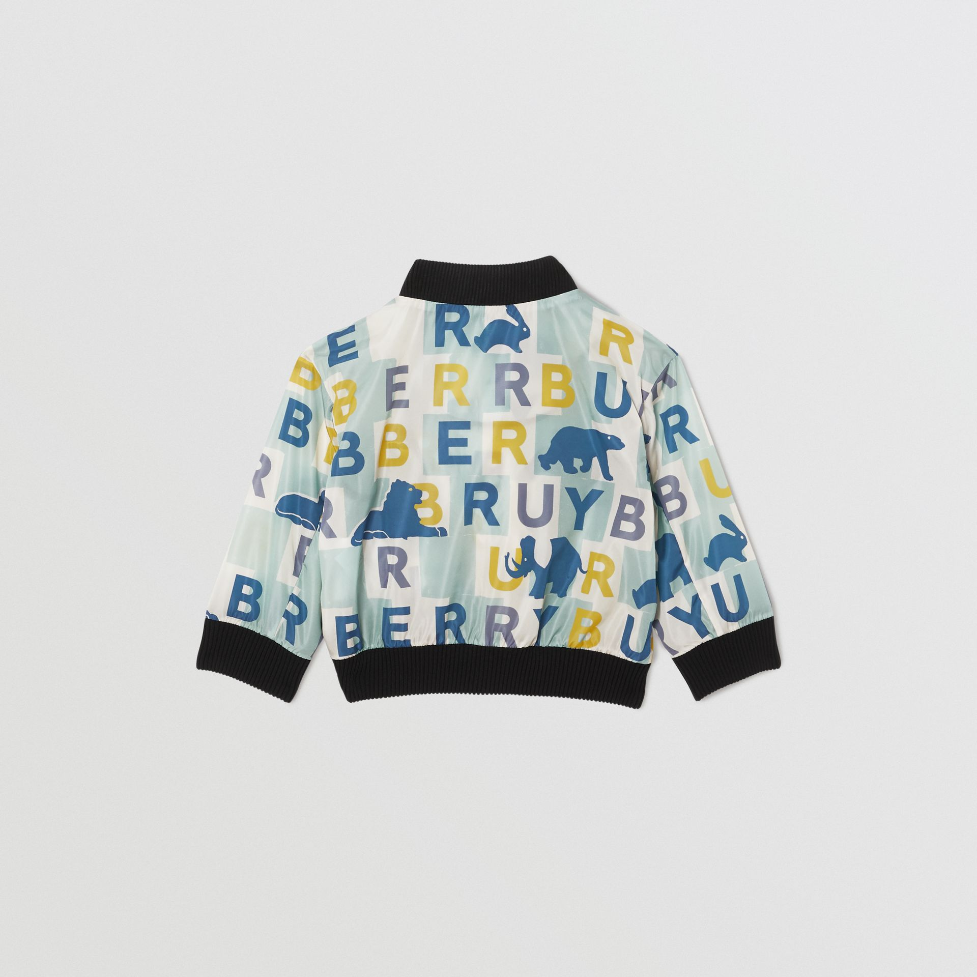 Logo Print Nylon Bomber Jacket in Pale Mint - Children | Burberry - gallery image 3