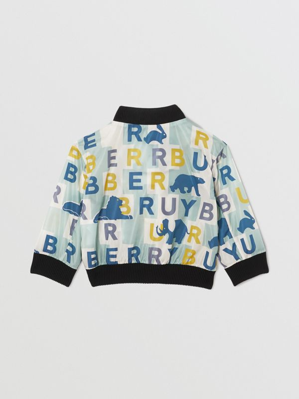 Logo Print Nylon Bomber Jacket in Pale Mint - Children | Burberry Singapore - cell image 3
