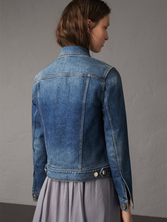 Check Detail Denim Jacket in Light Indigo - Women | Burberry - cell image 2