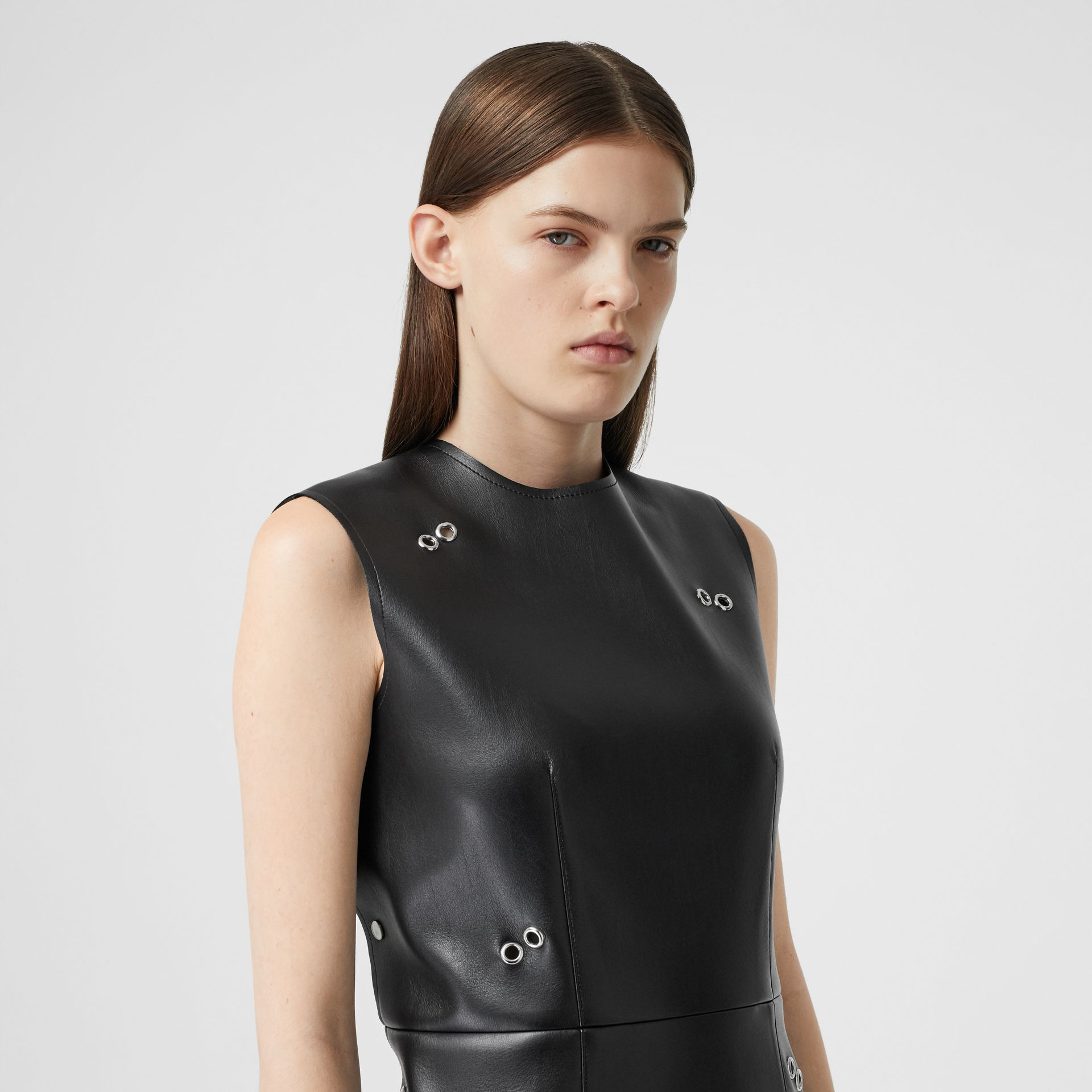 Embellished Faux Leather Mini Dress in Black - Women | Burberry - gallery image 1