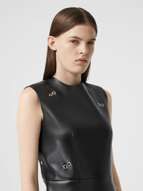 Embellished Faux Leather Mini Dress in Black - Women | Burberry - cell image 1