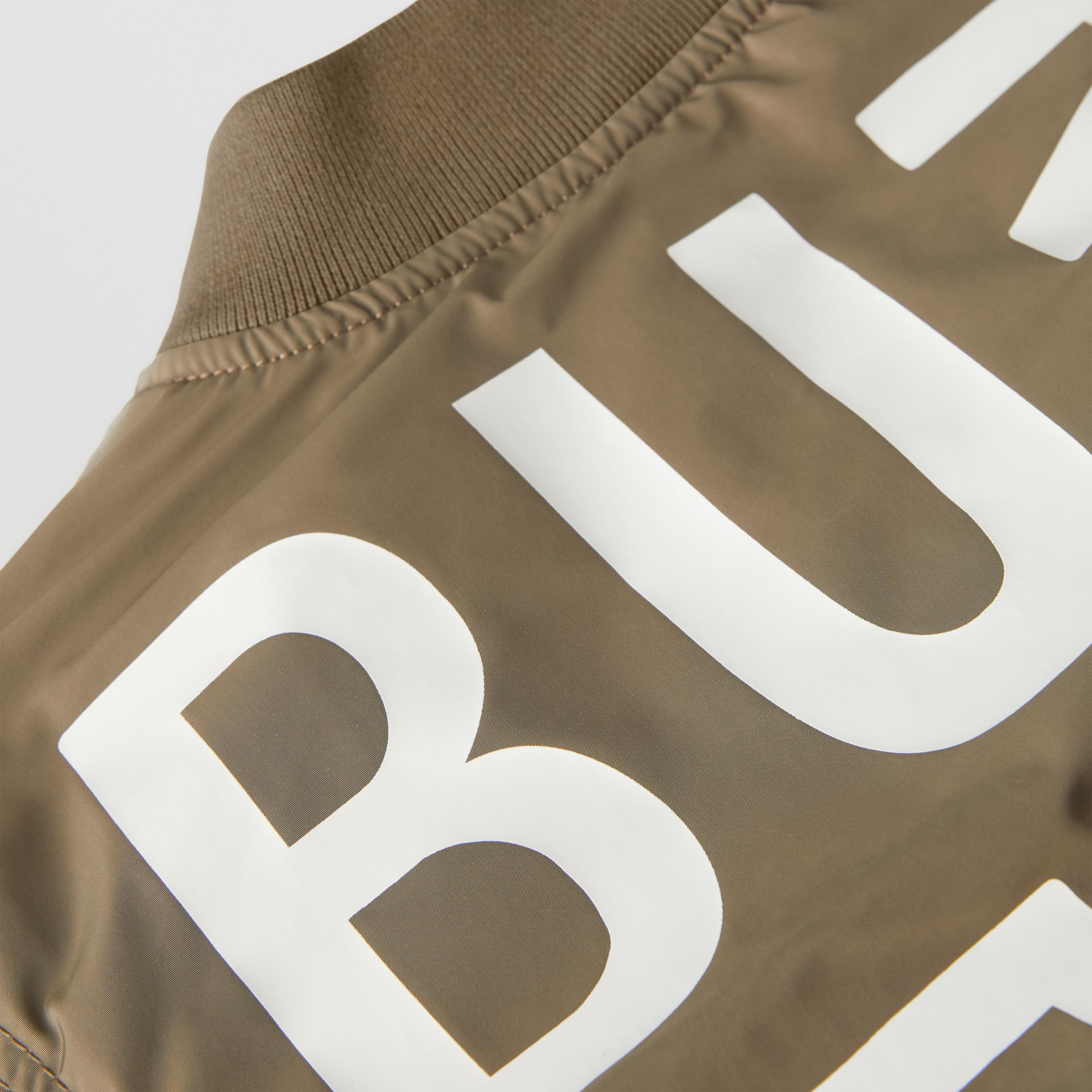 Logo Print Shape-memory Taffeta Bomber Jacket in Khaki | Burberry United Kingdom - gallery image 1