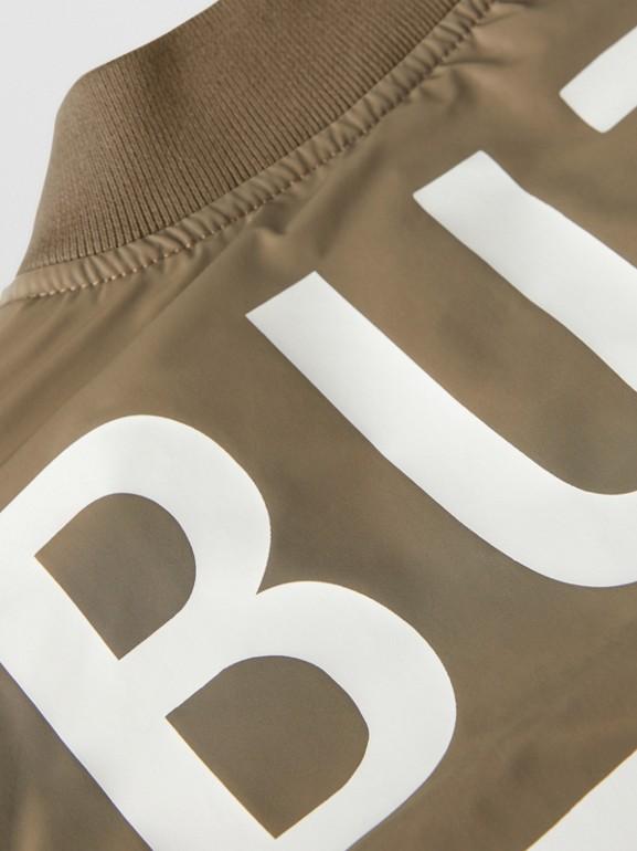 Logo Print Shape-memory Taffeta Bomber Jacket in Khaki | Burberry - cell image 1