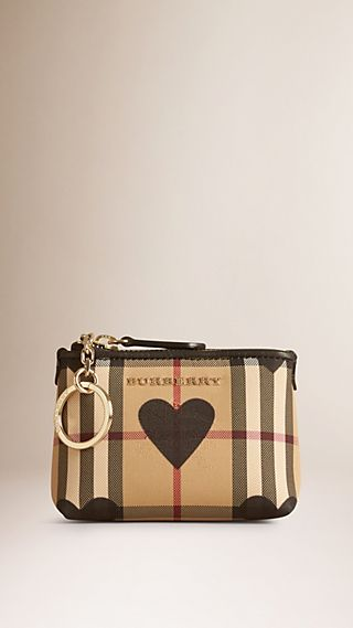 Heart Print Horseferry Check Coin Case