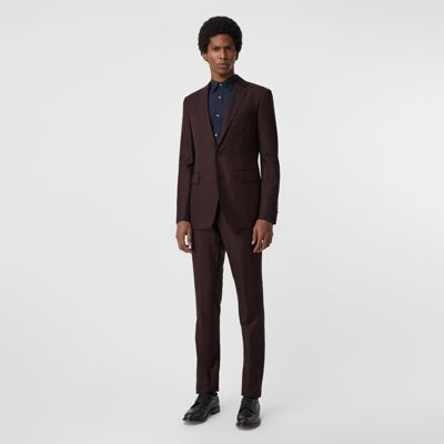 Slim Fit Silk Wool Burgundy Suit Mohair In S6ArSq