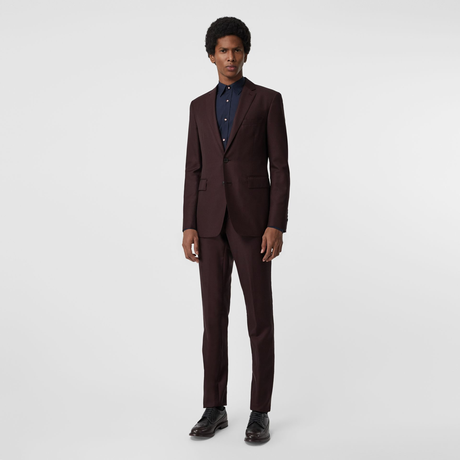 Slim Fit Wool Mohair Silk Suit in Burgundy - Men | Burberry - gallery image 0