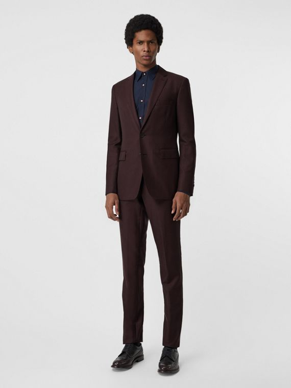 Slim Fit Wool Mohair Silk Suit in Burgundy