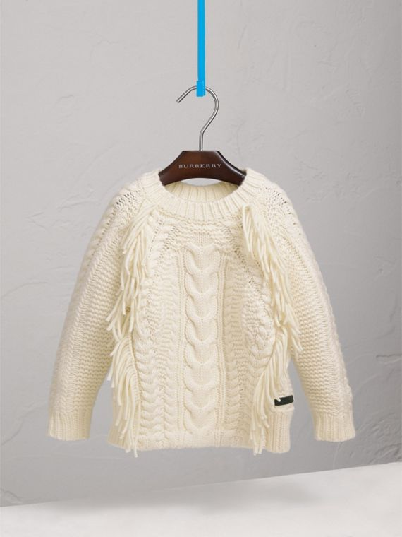 Fringed Cable Knit Wool Cashmere Sweater in Natural White - Girl | Burberry Singapore - cell image 2
