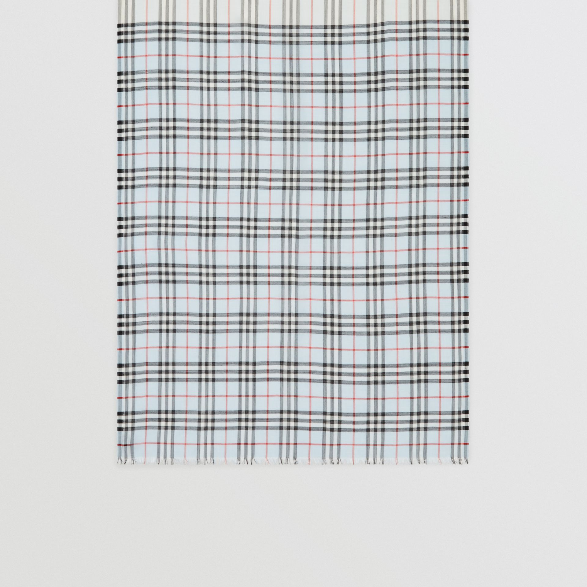 Icon Stripe and Vintage Check Wool Silk Scarf in Pale Blue | Burberry Australia - gallery image 3
