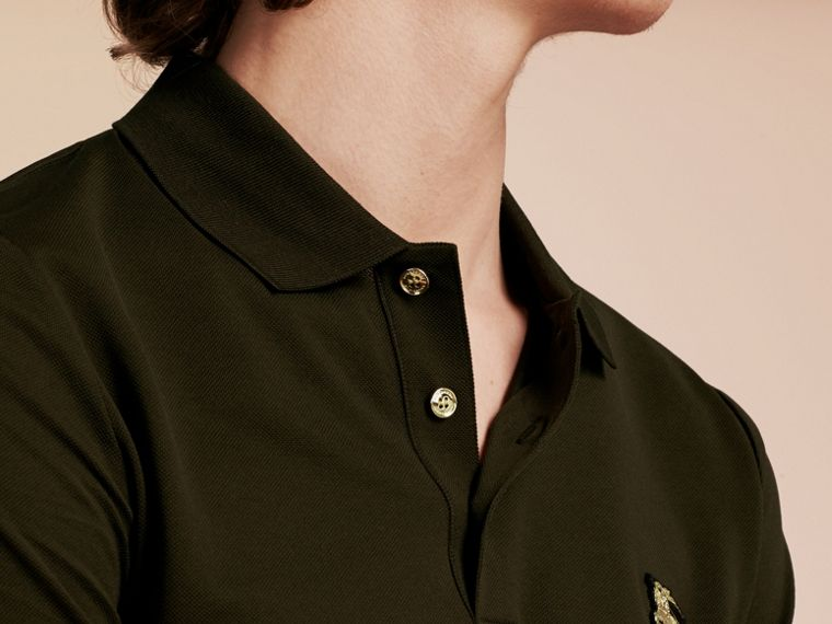 Oregano Fitted Mercerised Cotton-Piqué Polo Shirt Oregano - cell image 4