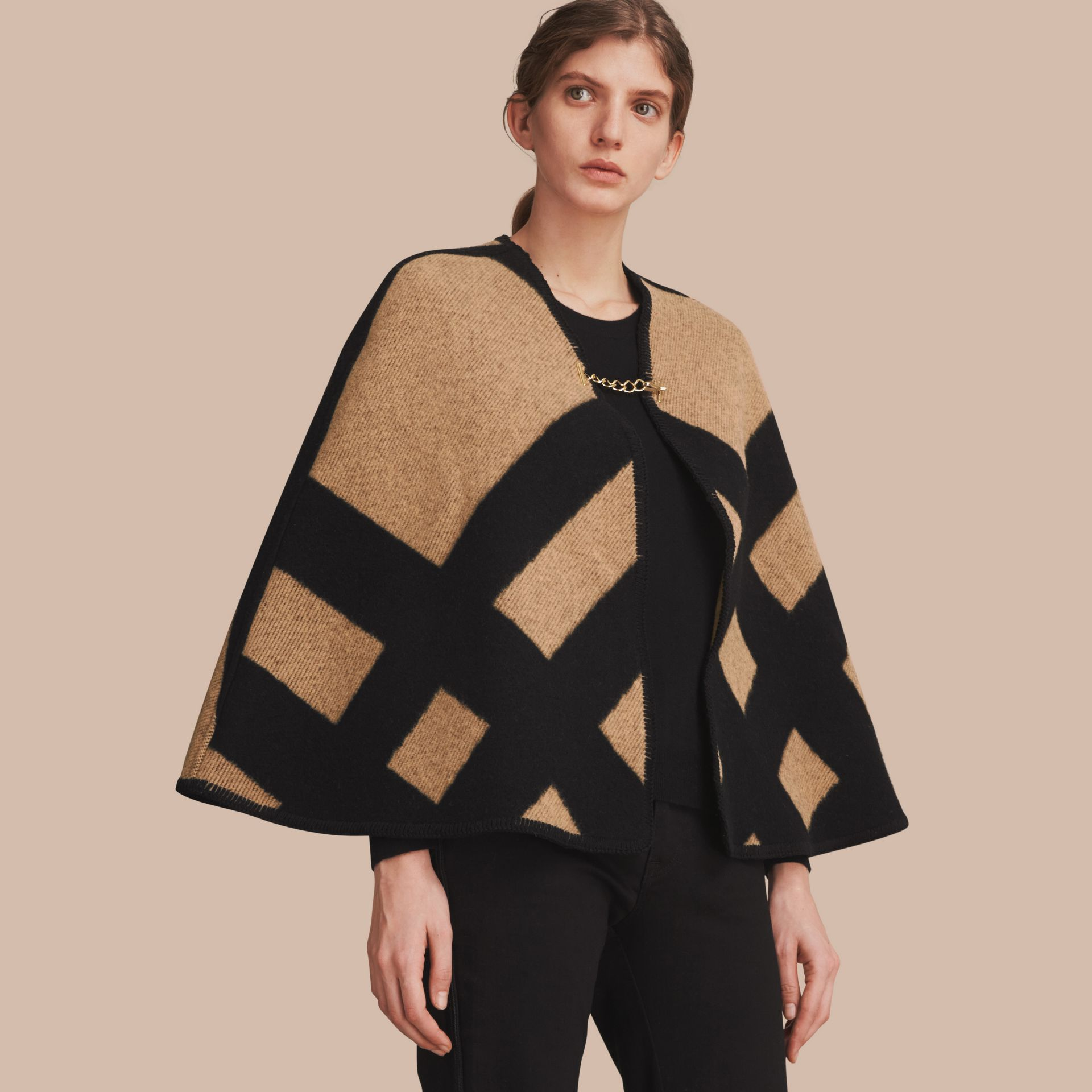 Check Wool Cashmere Blanket Cape in Camel/black - Women | Burberry Canada - gallery image 1
