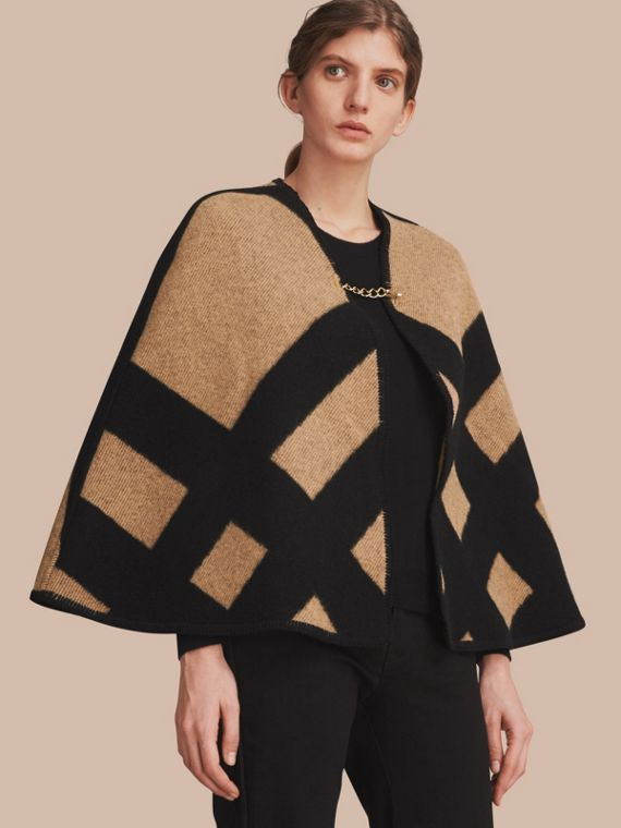 Check Wool Cashmere Blanket Cape in Camel/black