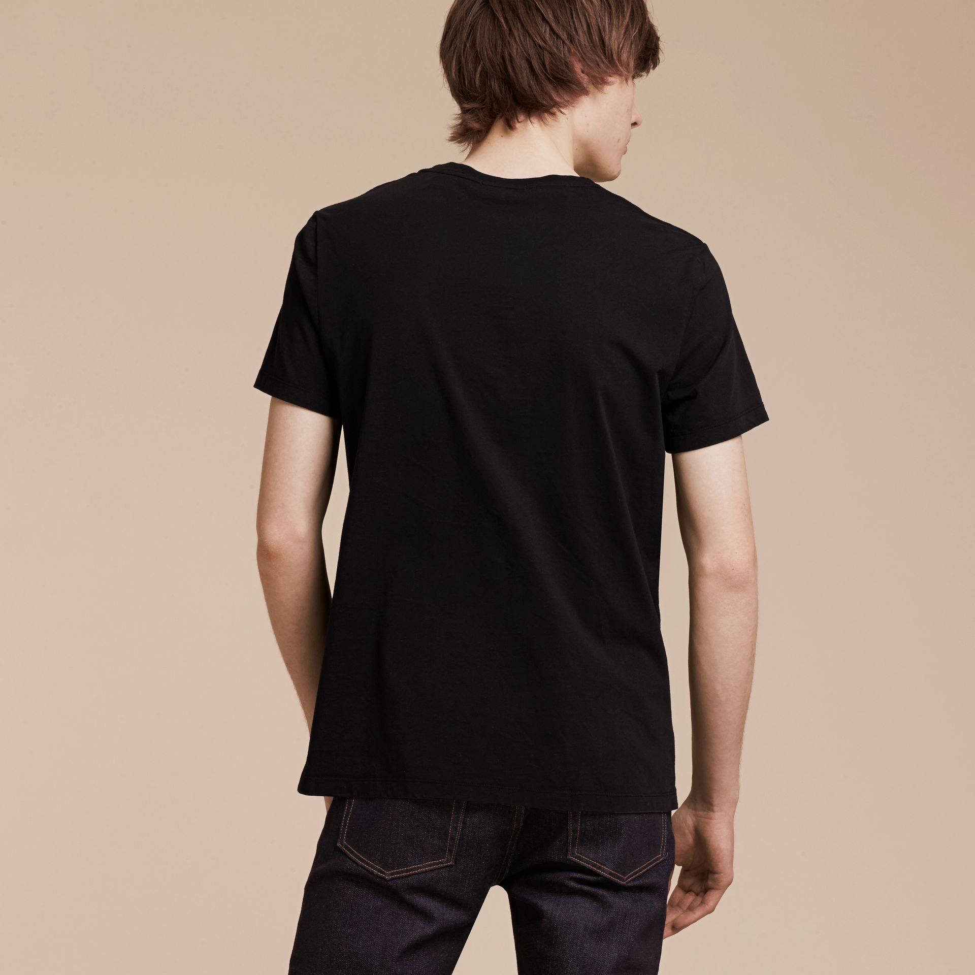 Black Brushstroke Check Print Cotton T-Shirt Black - gallery image 3