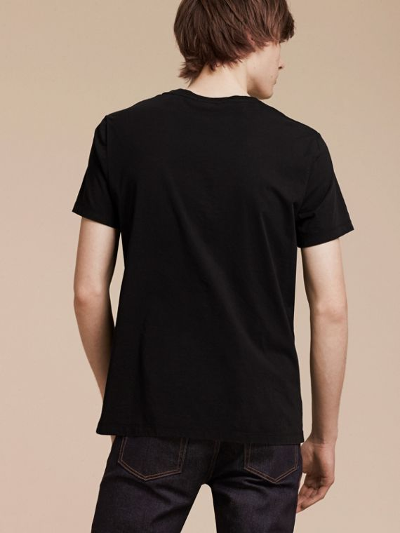 Black Brushstroke Check Print Cotton T-Shirt Black - cell image 2