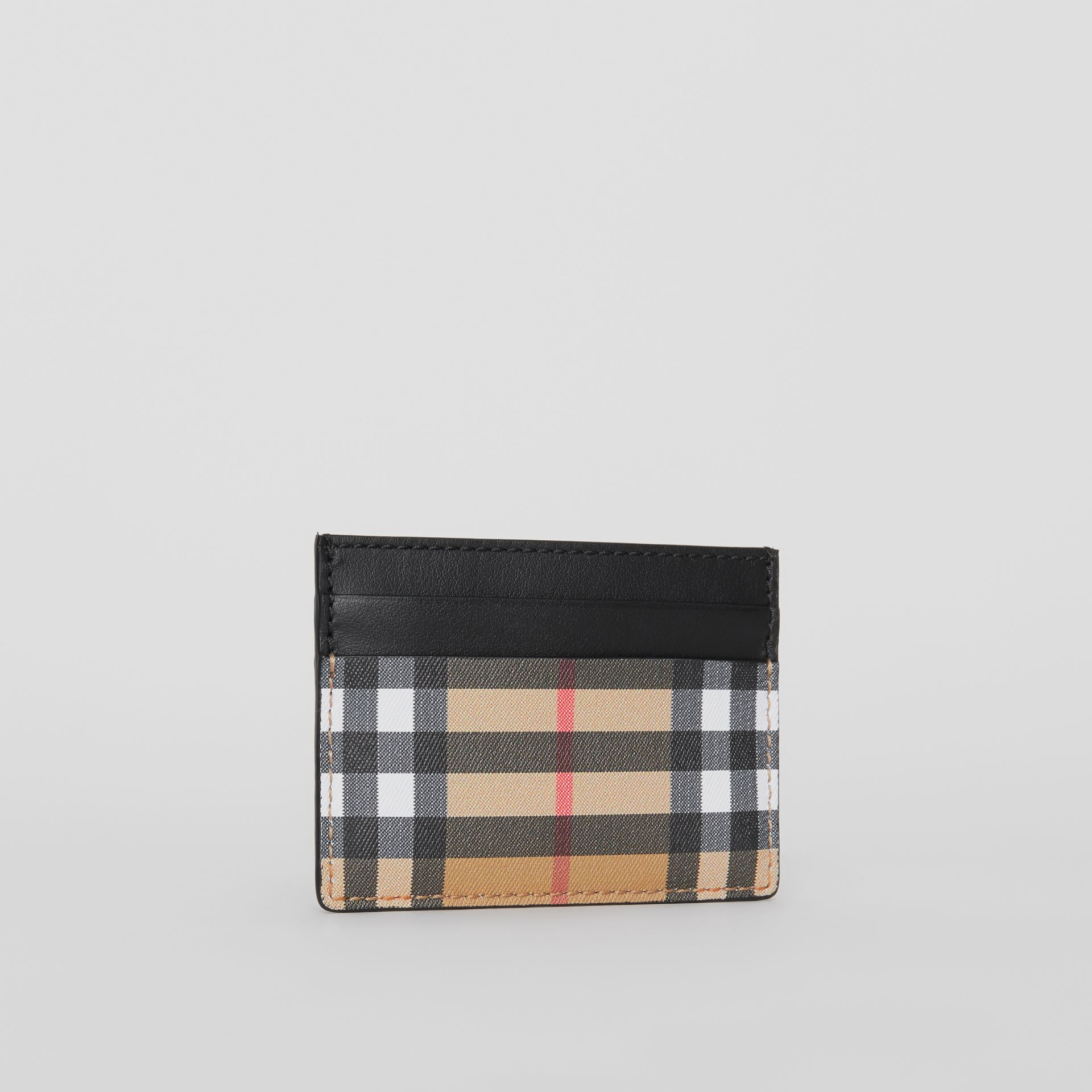 Vintage Check Leather Card Case in Black | Burberry Australia - gallery image 4