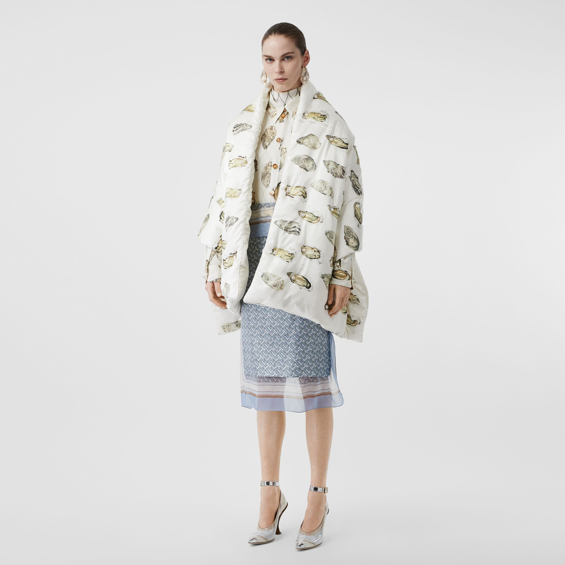 Oyster Print Puffer Scarf in Natural White - Women | Burberry United Kingdom - gallery image 0