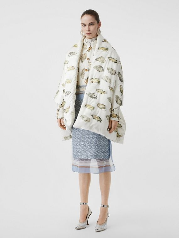 Oyster Print Puffer Scarf in Natural White