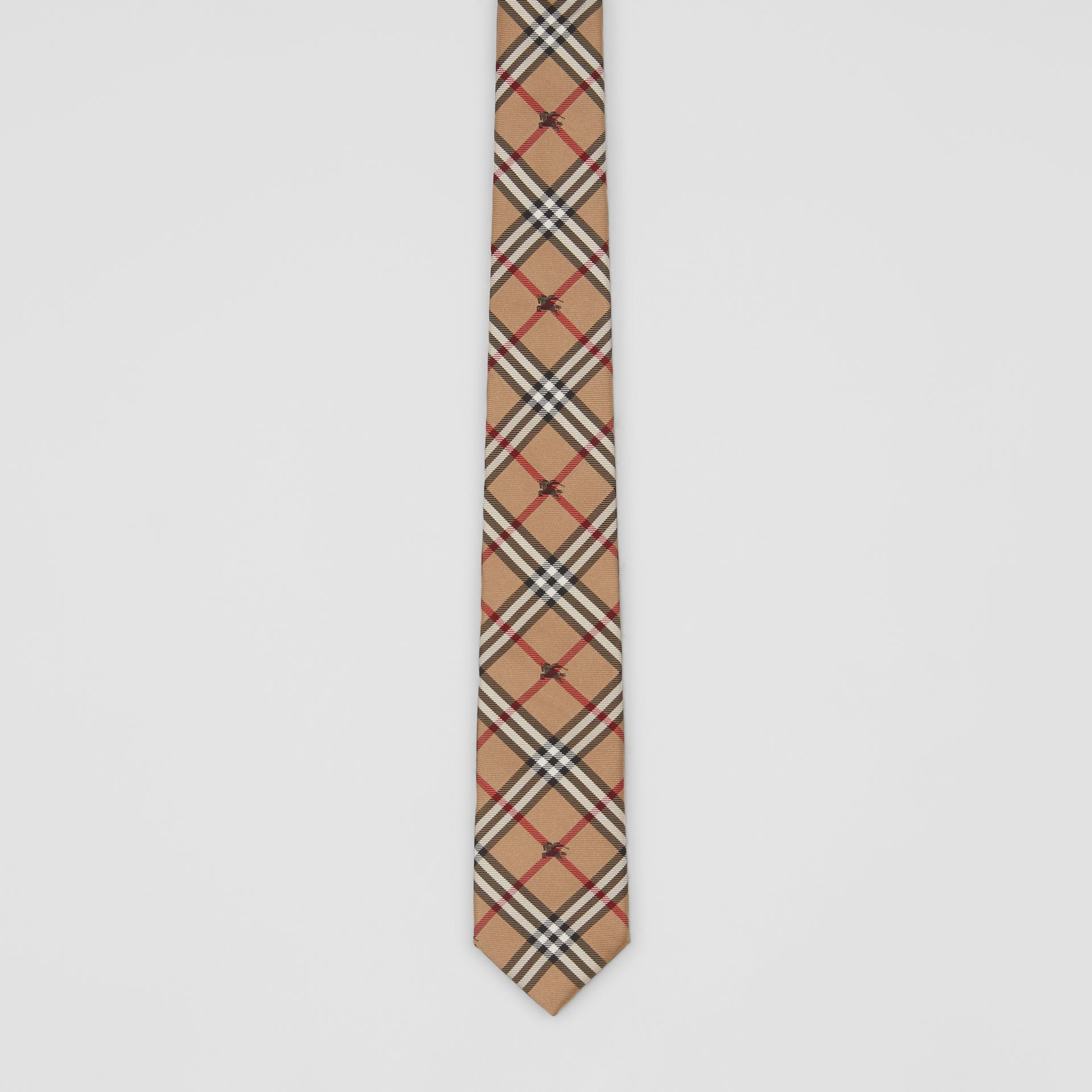 Slim Cut Equestrian Knight Check Silk Tie in Camel - Men | Burberry United Kingdom - gallery image 4
