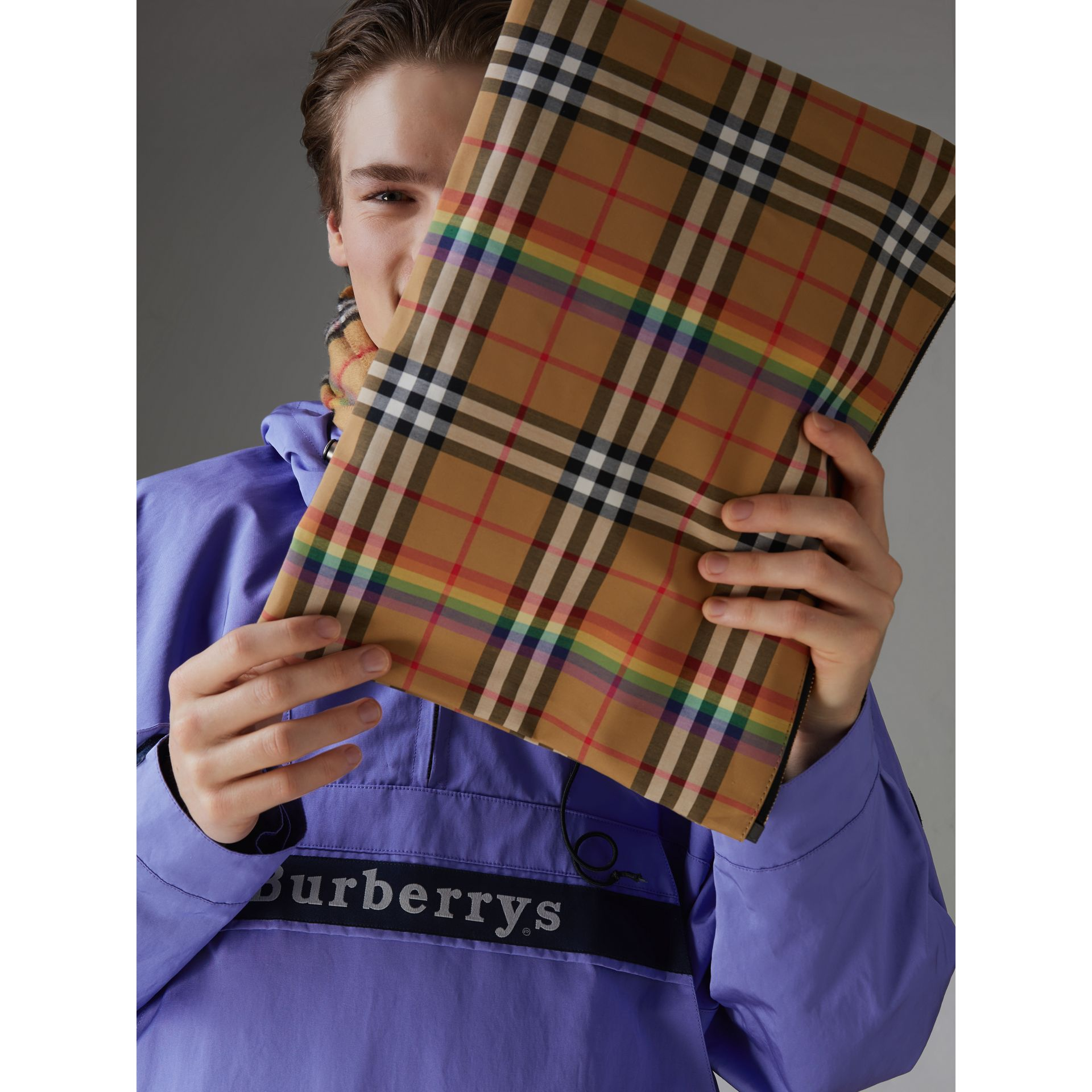 Large Rainbow Vintage Check Pouch in Dark Grey | Burberry - gallery image 5
