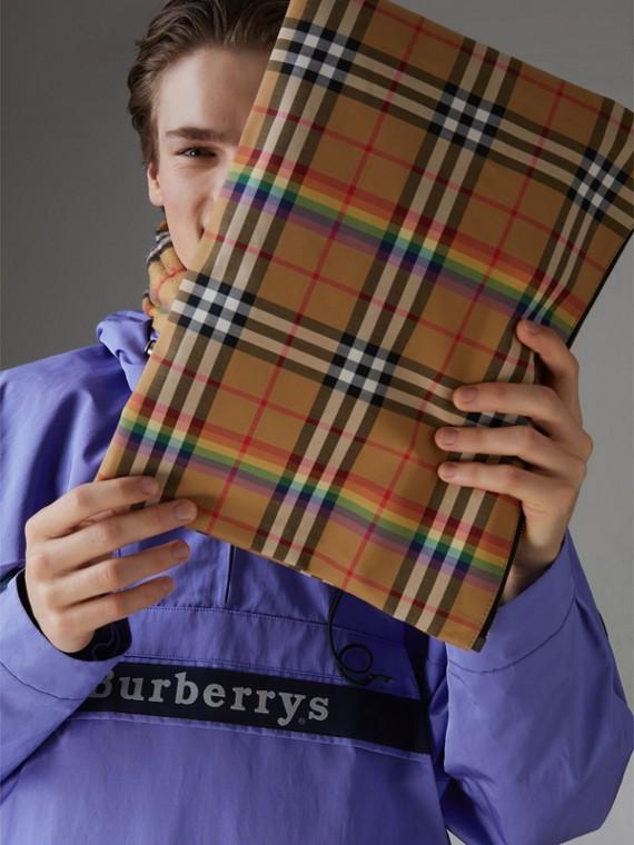 Großes Etui mit Rainbow Vintage Check-Muster (Dunkelgrau)