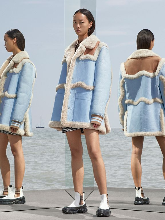 Two-tone Leather and Shearling Coat in Baby Blue - Women | Burberry - cell image 1