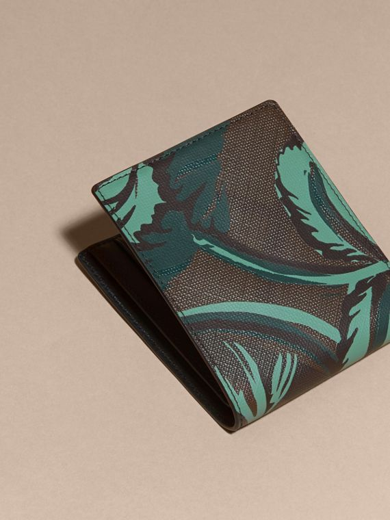 Chocolate floral Floral Print London Check Folding Wallet Chocolate - cell image 3
