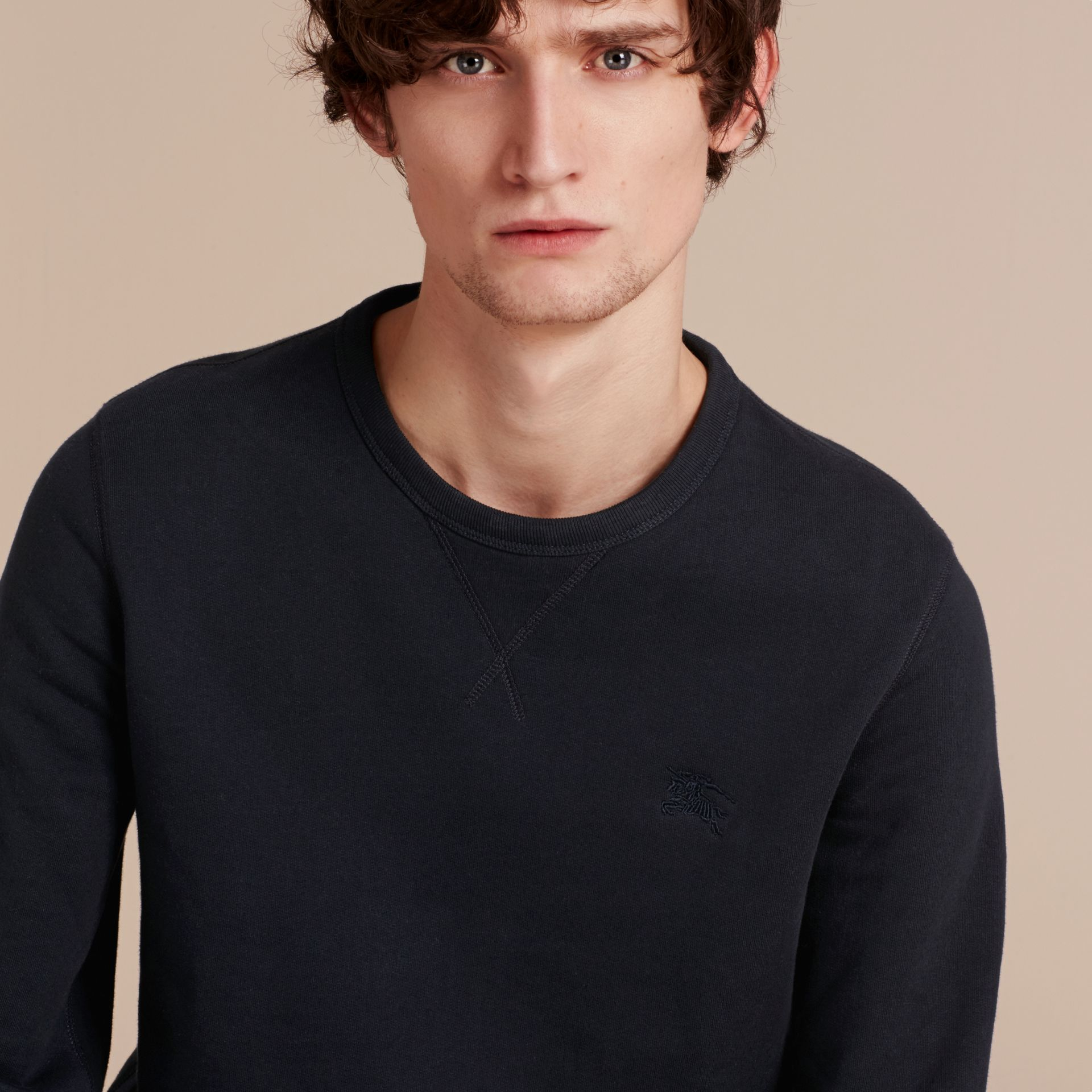 Cotton Blend Jersey Sweatshirt in Navy - gallery image 5