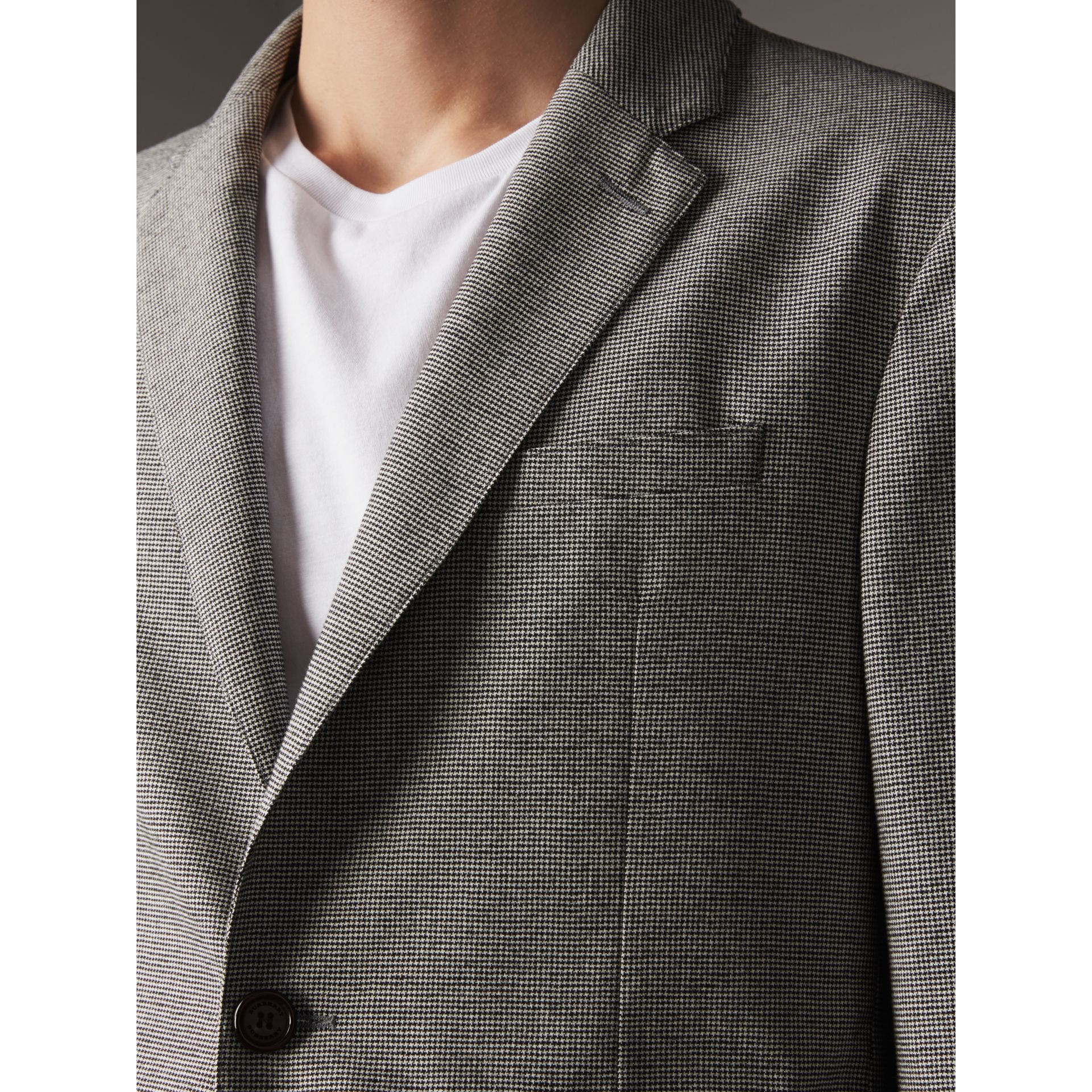 Micro Houndstooth Cotton Wool Blend Blazer in Charcoal - Men | Burberry - gallery image 4