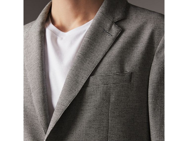 Micro Houndstooth Cotton Wool Blend Blazer in Charcoal - Men | Burberry - cell image 4