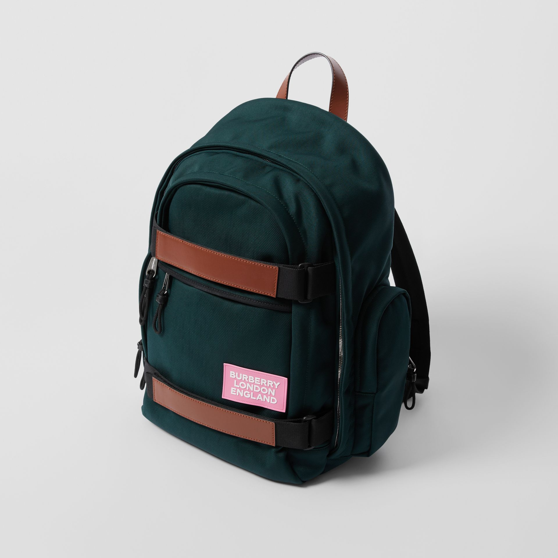 Large Leather Trim Nylon Nevis Backpack in Dark Pine Green | Burberry United States - gallery image 4