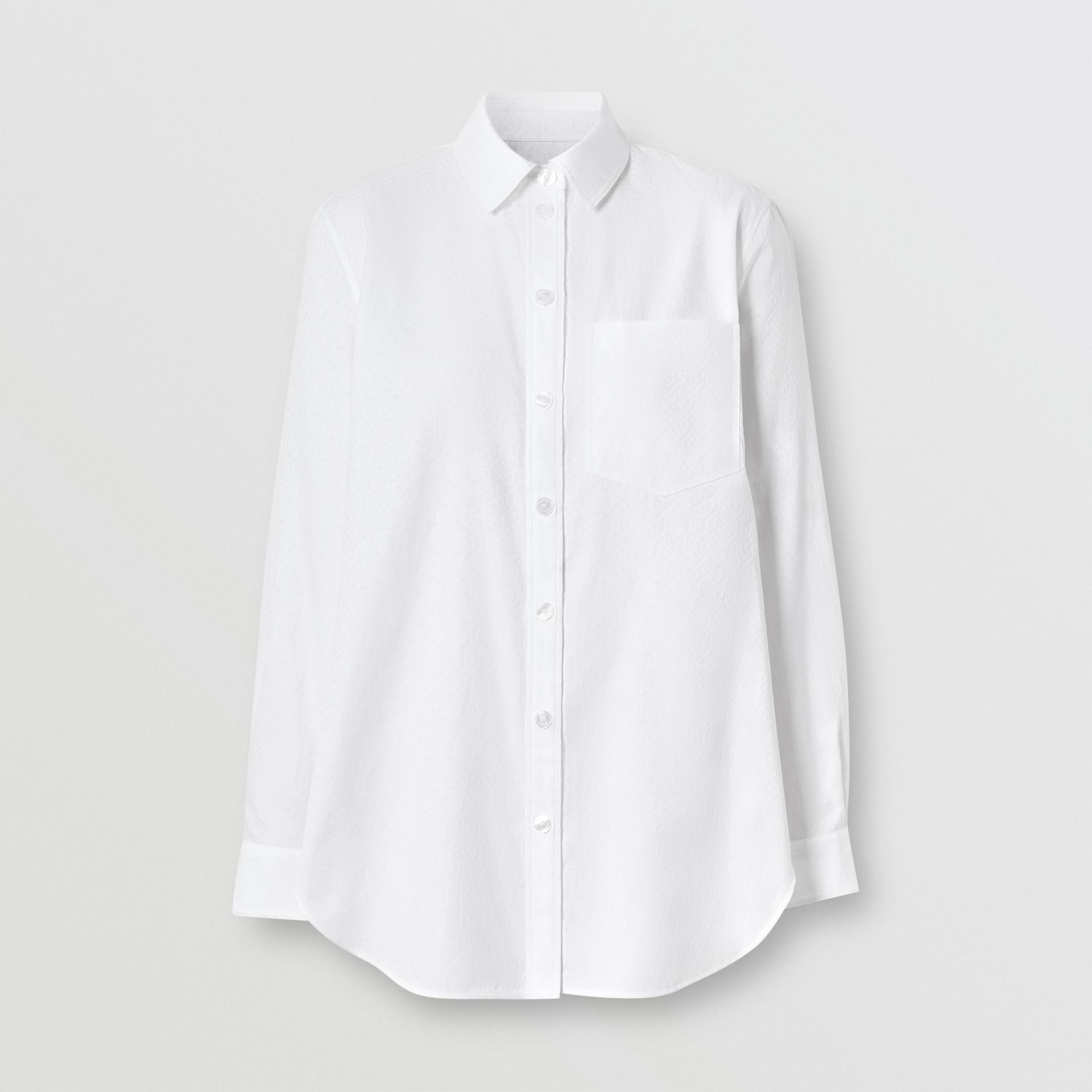 Monogram Cotton Jacquard Shirt in Optic White - Women | Burberry United Kingdom - gallery image 3