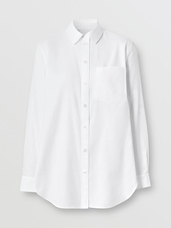 Monogram Cotton Jacquard Shirt in Optic White - Women | Burberry United Kingdom - cell image 3
