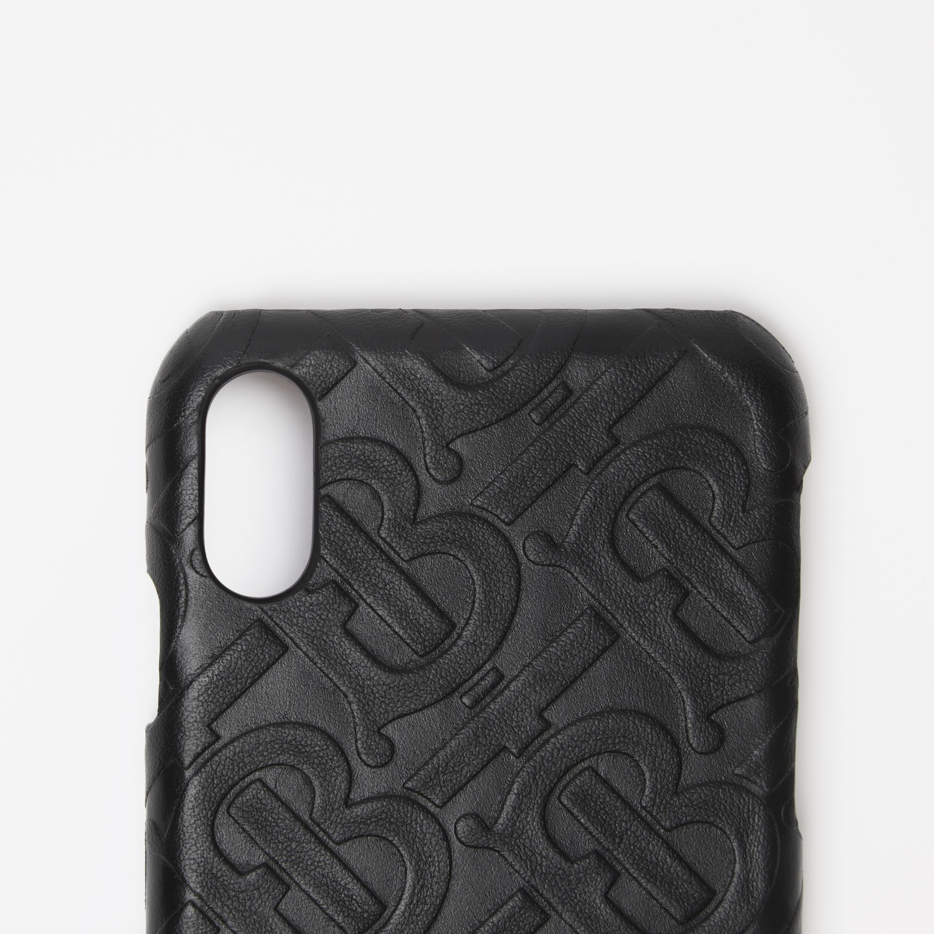 Monogram Leather iPhone X/XS Case in Black | Burberry - gallery image 1